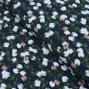 """Tissu viscose motif Fleurs """"Kisnek"""" - Bleu nuit et vert - Oeko-Tex ®"""