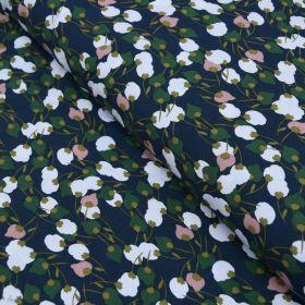 "Tissu viscose motif Fleurs ""Kisnek"" - Bleu nuit et vert - Oeko-Tex ® Autres marques - Tissus et mercerie - 1"