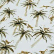"Tissu jersey coton motif fleurs ""Palm and Monkeys"" - Blanc et marron - Oeko-Tex ® Family Fabrics ® - Tissus oekotex - 3"