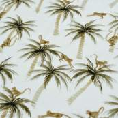 "Tissu jersey coton motif singe ""Palm and Monkeys"" - Blanc et marron - Oeko-Tex ® Family Fabrics ® - Tissus oekotex - 3"