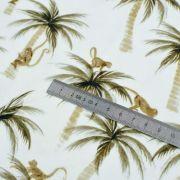 "Tissu jersey coton motif fleurs ""Palm and Monkeys"" - Blanc et marron - Oeko-Tex ® Family Fabrics ® - Tissus oekotex - 5"