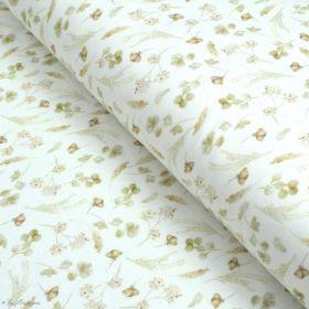 "Tissu jersey côtelé motif fleurs ""Romantic Dried"" - Blanc cassé et tons ocre - Oeko-Tex ® Family Fabrics ® - Tissus oekotex - 1"