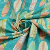 "Tissu coton motif planche de surf ""Beach Travel"" - Multicolore - Oekotex - AGF ® 3 Wishes Fabrics ® - 3"