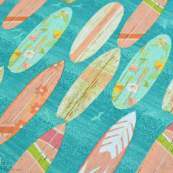 "Tissu coton motif planche de surf ""Beach Travel"" - Multicolore - Oekotex - AGF ® 3 Wishes Fabrics ® - 2"