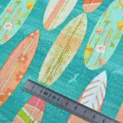 "Tissu coton motif planche de surf ""Beach Travel"" - Multicolore - Oekotex - AGF ® 3 Wishes Fabrics ® - 5"