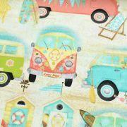"Tissu coton motif combi ""Beach Travel"" - Multicolore - Oekotex - AGF ® 3 Wishes Fabrics ® - 2"