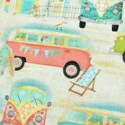 "Tissu coton motif combi ""Beach Travel"" - Multicolore - Oekotex - 3 Wishes ® 3 Wishes Fabrics ® - 4"