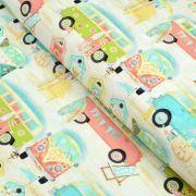 "Tissu coton motif combi ""Beach Travel"" - Multicolore - Oekotex - AGF ® 3 Wishes Fabrics ® - 1"