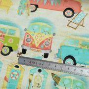 "Tissu coton motif combi ""Beach Travel"" - Multicolore - Oekotex - AGF ® 3 Wishes Fabrics ® - 8"