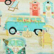 "Tissu coton motif combi ""Beach Travel"" - Multicolore - Oekotex - AGF ® 3 Wishes Fabrics ® - 5"