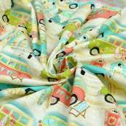 "Tissu coton motif combi ""Beach Travel"" - Multicolore - Oekotex - AGF ® 3 Wishes Fabrics ® - 6"