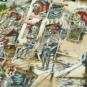 "Tissu coton motif tête de mort ""Skelewags"" pirates - Multicolore - Henry Alexander ® Alexander HENRY Fabrics ® - Tissus - 5"