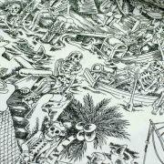 "Tissu coton motif tête de mort ""Skelewags"" pirates - Noir et blanc - Henry Alexander ® Alexander HENRY Fabrics ® - Tissus - 3"