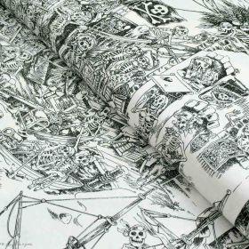 "Tissu coton motif tête de mort ""Skelewags"""" - Noir et blanc - Henry Alexander ® Alexander HENRY Fabrics ® - Tissus - 1"