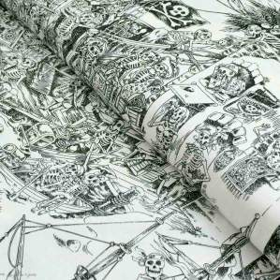 "Tissu coton motif tête de mort ""Skelewags"" pirates - Noir et blanc - Henry Alexander ® Alexander HENRY Fabrics ® - Tissus - 1"