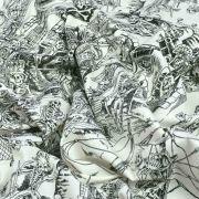 "Tissu coton motif tête de mort ""Skelewags"" pirates - Noir et blanc - Henry Alexander ® Alexander HENRY Fabrics ® - Tissus - 6"