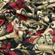 """Tissu coton motif tête mexicaine """"Las elegantes"""""""" - Noir et pourpre - Henry Alexander ® Alexander HENRY Fabrics ® - Tissus - 7"""