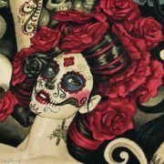 """Tissu coton motif tête mexicaine """"Las elegantes"""""""" - Noir et pourpre - Henry Alexander ® Alexander HENRY Fabrics ® - Tissus - 2"""