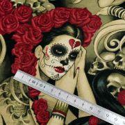 """Tissu coton motif tête mexicaine """"Las elegantes"""""""" - Noir et pourpre - Henry Alexander ® Alexander HENRY Fabrics ® - Tissus - 8"""