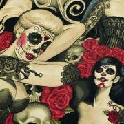 """Tissu coton motif tête mexicaine """"Las elegantes"""""""" - Noir et pourpre - Henry Alexander ® Alexander HENRY Fabrics ® - Tissus - 5"""