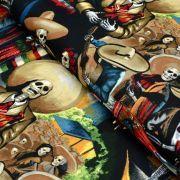 "Tissu coton motif tête de mort ""Fiesta De San Marcos"" - Multicolore - Henry Alexander ® Alexander HENRY Fabrics ® - Tissus - 1"