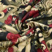 """Tissu coton motif tête mexicaine """"Las elegantes"""""""" - Noir et pourpre - Henry Alexander ® Alexander HENRY Fabrics ® - Tissus - 6"""