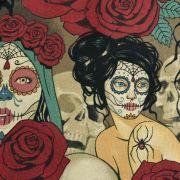"""Tissu coton motif tête mexicaine """"Nocturna"""" - Noir et pourpre - Henry Alexander ® Alexander HENRY Fabrics ® - Tissus - 2"""