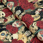 """Tissu coton motif tête mexicaine """"Nocturna"""" - Noir et pourpre - Henry Alexander ® Alexander HENRY Fabrics ® - Tissus - 1"""