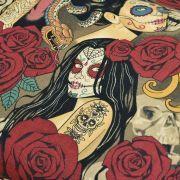 """Tissu coton motif tête mexicaine """"Nocturna"""" - Noir et pourpre - Henry Alexander ® Alexander HENRY Fabrics ® - Tissus - 3"""