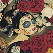 """Tissu coton motif tête mexicaine """"Nocturna"""" - Noir et pourpre - Henry Alexander ® Alexander HENRY Fabrics ® - Tissus - 4"""