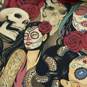"""Tissu coton motif tête mexicaine """"Nocturna"""" - Noir et pourpre - Henry Alexander ® Alexander HENRY Fabrics ® - Tissus - 5"""