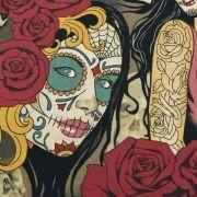 """Tissu coton motif tête mexicaine """"Nocturna"""" - Noir et pourpre - Henry Alexander ® Alexander HENRY Fabrics ® - Tissus - 6"""