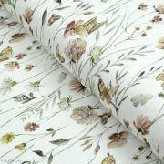 "Tissu jersey côtelé motif fleurs ""Flowers and Butterflies"" - Blanc et tons ocre - Oeko-Tex ® Family Fabrics ® - Tissus oekotex -"