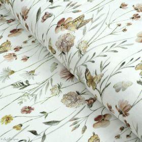 """Tissu jersey côtelé motif fleurs """"Flowers and Butterflies"""" - Blanc cassé et tons ocre - Oeko-Tex ® Family Fabrics ® - Tissus oek"""