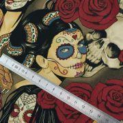 """Tissu coton motif tête mexicaine """"Nocturna"""" - Noir et pourpre - Henry Alexander ® Alexander HENRY Fabrics ® - Tissus - 9"""