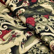 """Tissu coton motif tête mexicaine """"Las elegantes"""""""" - Noir et pourpre - Henry Alexander ®"""