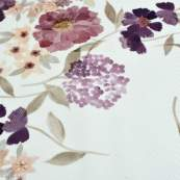 """Tissu jersey côtelé motif fleurs """"Vintage Floral"""" - Blanc cassé et tons violet - Oeko-Tex ® Family Fabrics ® - Tissus oekotex -"""