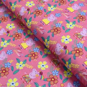 "Tissu coton ""Peppa Pig"" motif fleurs - Rose - Oeko-Tex ® et GOTS ® Autres marques - Tissus et mercerie - 1"