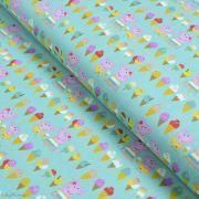 "Tissu coton ""Peppa Pig"" motif glaces - Vert menthe - Oeko-Tex ® et GOTS ®"