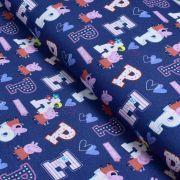 "Tissu coton ""Peppa Pig"" motif lettres - Bleu et rose - Oeko-Tex ® et GOTS ®"