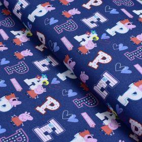 """Tissu coton """"Peppa Pig"""" motif lettres - Bleu et rose - Oeko-Tex ® et GOTS ® Autres marques - Tissus et mercerie - 1"""