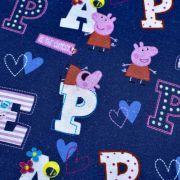 """Tissu coton """"Peppa Pig"""" motif lettres - Bleu et rose - Oeko-Tex ® et GOTS ® Autres marques - Tissus et mercerie - 4"""