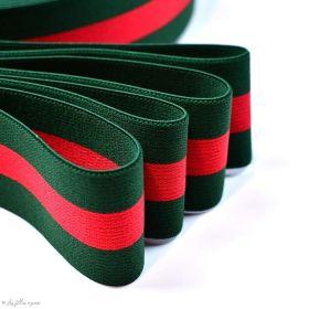 Elastique plat rayures - vert et rouge - 40mm - 1