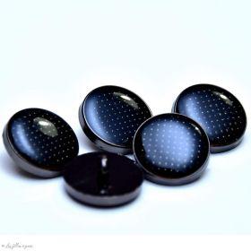 Bouton à queue - Plumetis - Métal noir laqué - 1