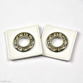 Oeillet strass simili cuir de couture carré - Lot de 2 - 8.5mm - 1
