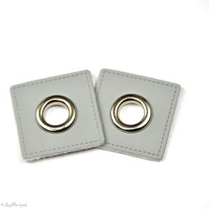 Oeillet simili cuir de couture carré - Lot de 2 - 8mm - 1
