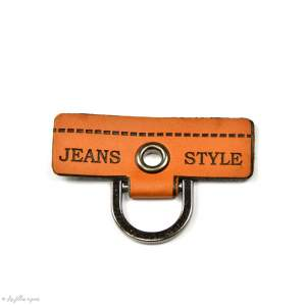 "Badge simili cuir ""Jeans Style"" avec anneau - 45mm  - 1"
