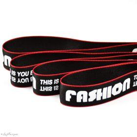 """Ruban satiné mode """"Fashion"""" - Noir, rouge et blanc - 25mm - 1"""