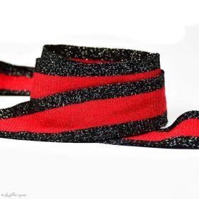 Ruban jersey à rayure lurex - Noir et rouge - 35mm - 1
