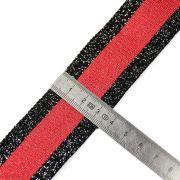 Ruban jersey à rayure lurex - Noir et rouge - 35mm  - 2